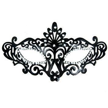 Mascara veneciana acabado negro y brillantes