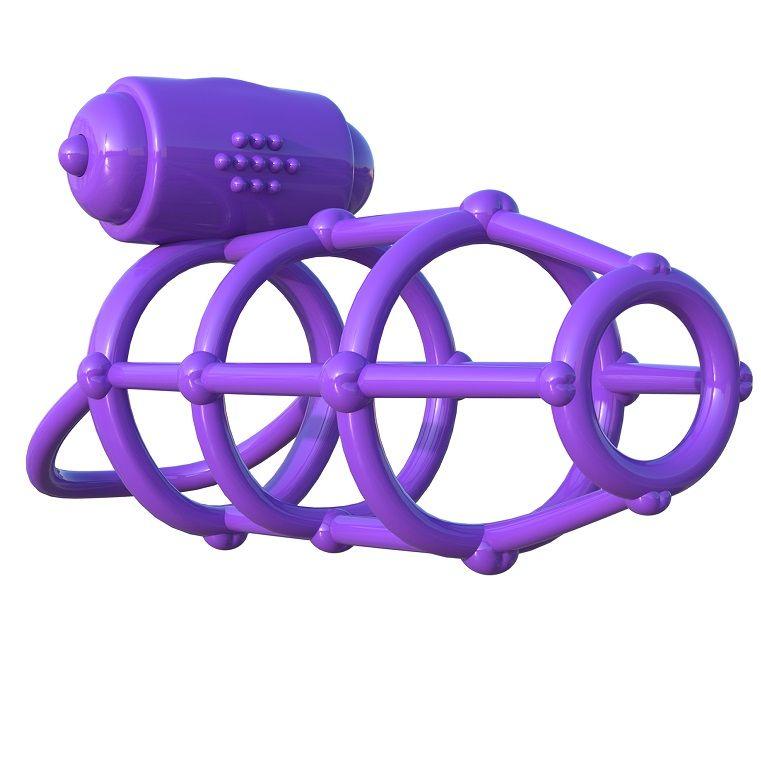 Fantasy c-ringz funda para el pene con anillo vibrador morado