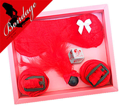 Kit antifaz bondage rojo inedit