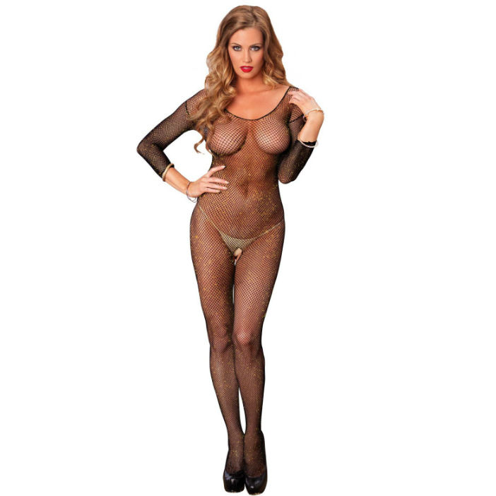 Leg avenue seamless lurex bodystocking negro y brillo