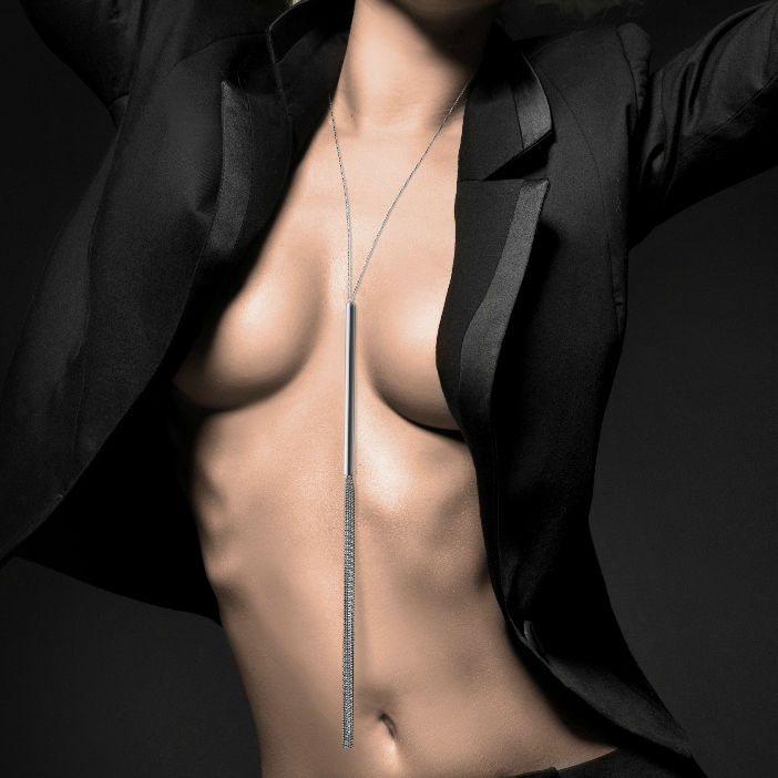 Magnifique collar / látigo de cadenas metálicas plateado