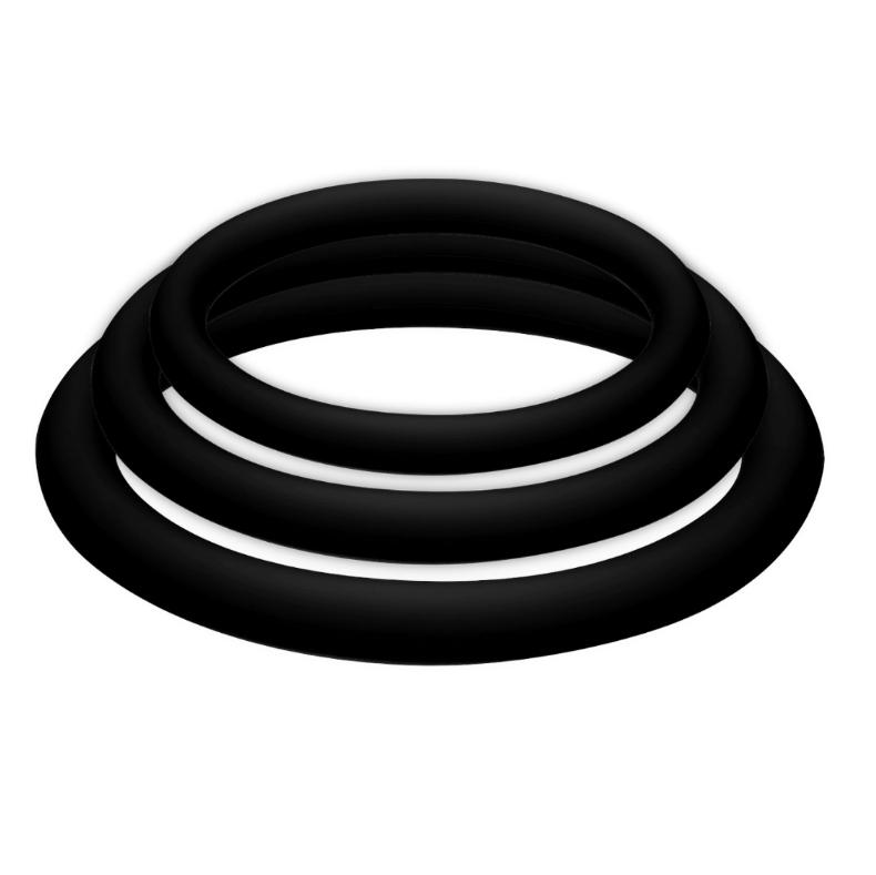 Potenzplus kit de 3 anillos para el pene (s, m, l) negro