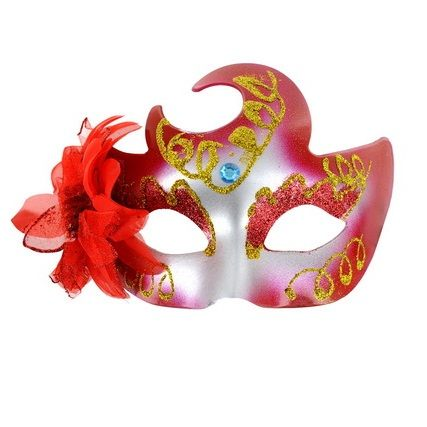 Mascara veneciana acabado rojo brillante