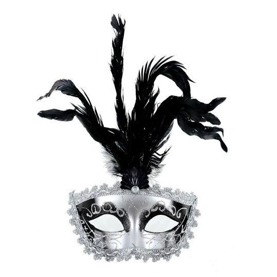 Mascara veneciana acabado plata plumas
