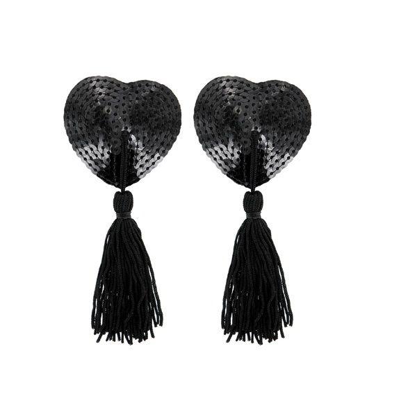 Pezoneras paris corazon negro de lentejuelas