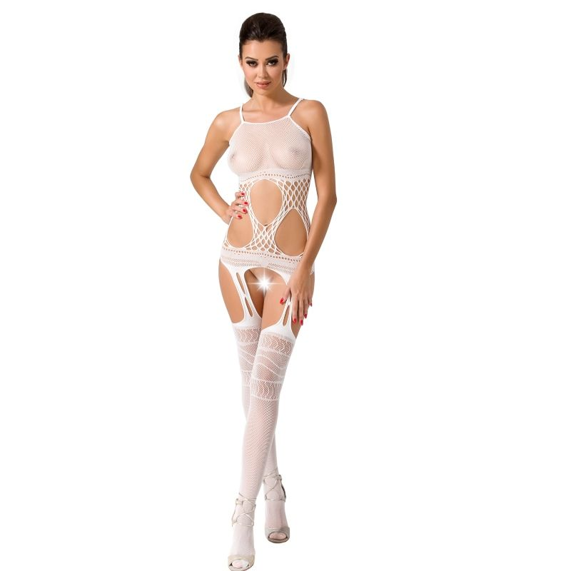 PASSION WOMAN BS047 BODYSTOCKING BLANCO TALLA UNICA