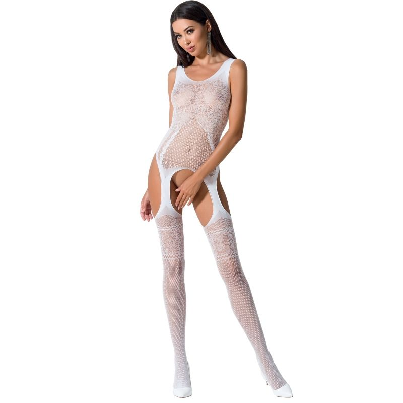 PASSION WOMAN BS061 BODYSTOCKING BLANCO TALLA UNICA