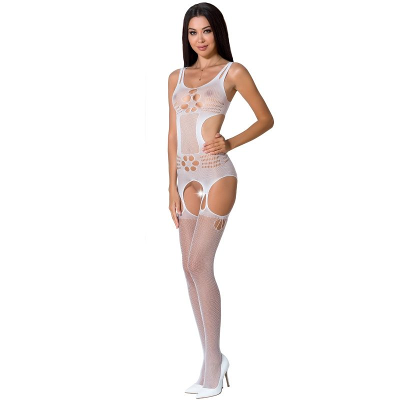 PASSION WOMAN BS066 BODYSTOCKING BLANCO TALLA UNICA