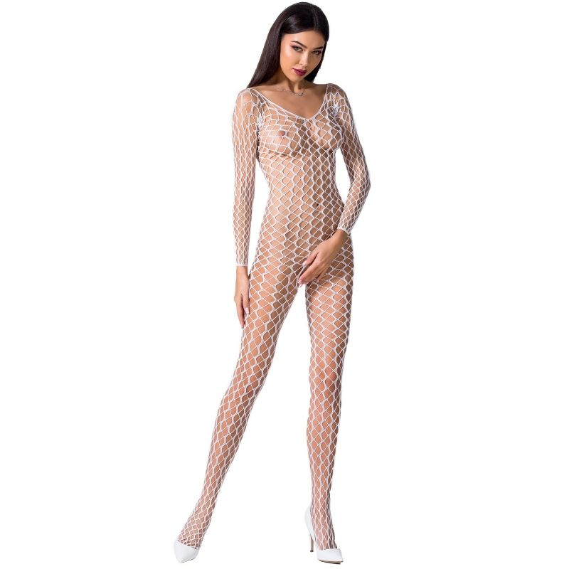 PASSION WOMAN BS068 BODYSTOCKING BLANCO TALLA UNICA