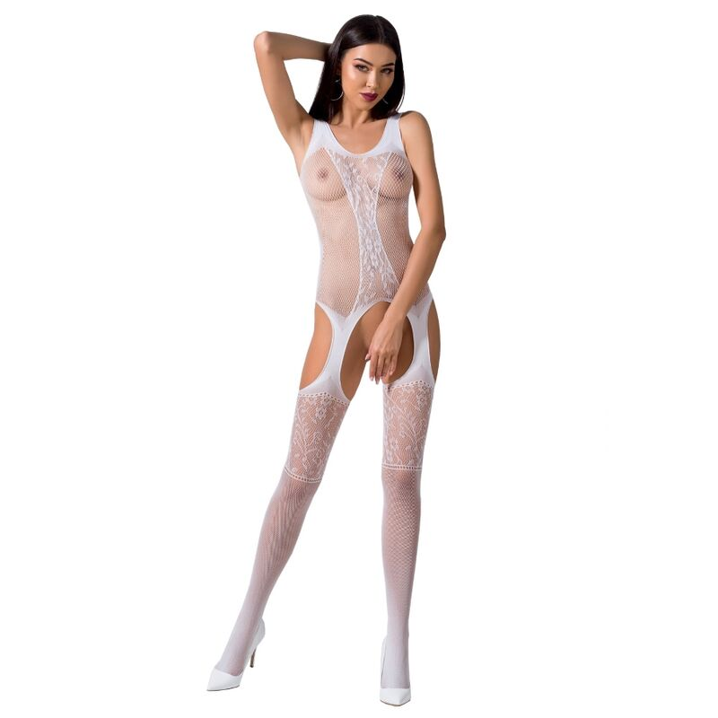PASSION WOMAN BS072 BODYSTOCKING TALLA UNICA BLANCO