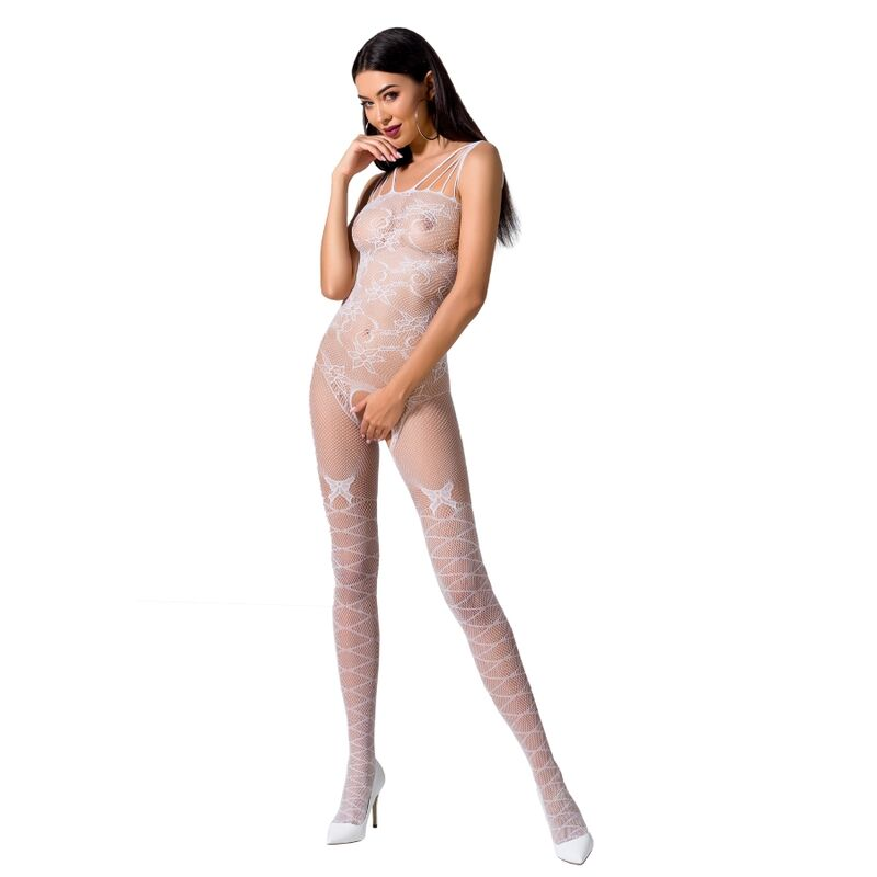 PASSION WOMAN BS076 BODYSTOCKING TALLA UNICA BLANCO