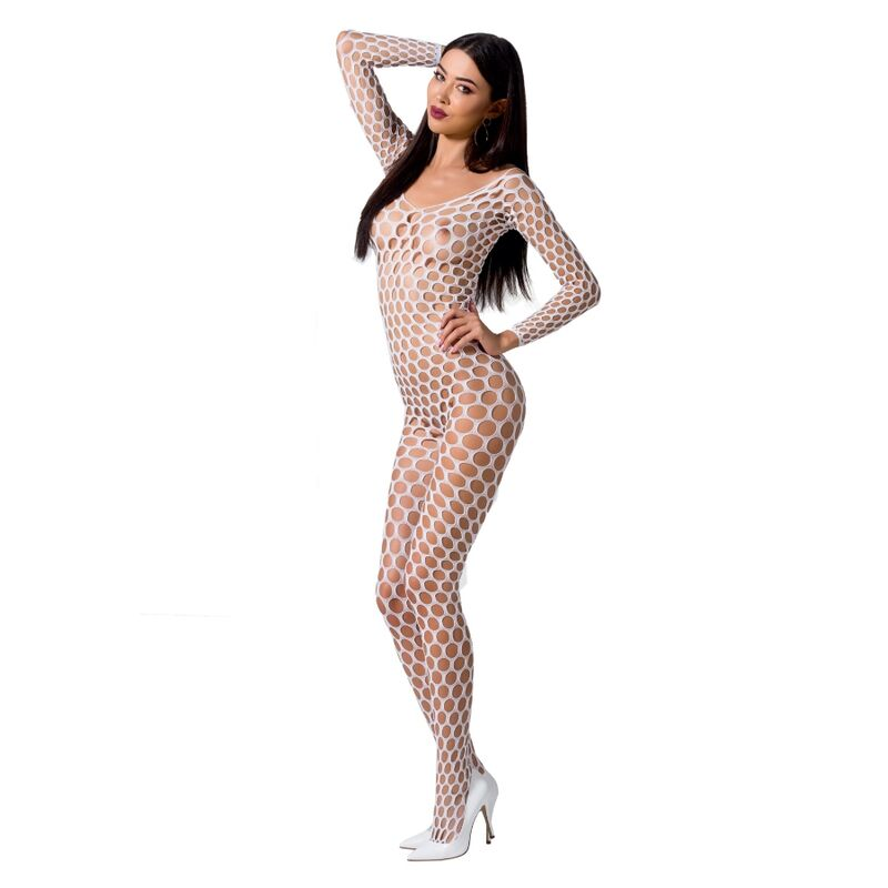 PASSION WOMAN BS077 BODYSTOCKING TALLA UNICA BLANCO