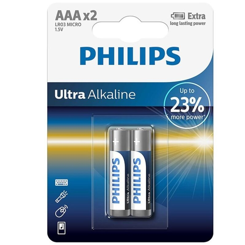 PHILIPS ULTRA ALKALINE PILA AAA LR03 BLISTER*2