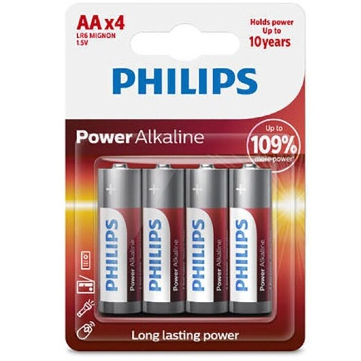 PHILIPS POWER ALKALINE PILA AA LR6 BLISTER*4