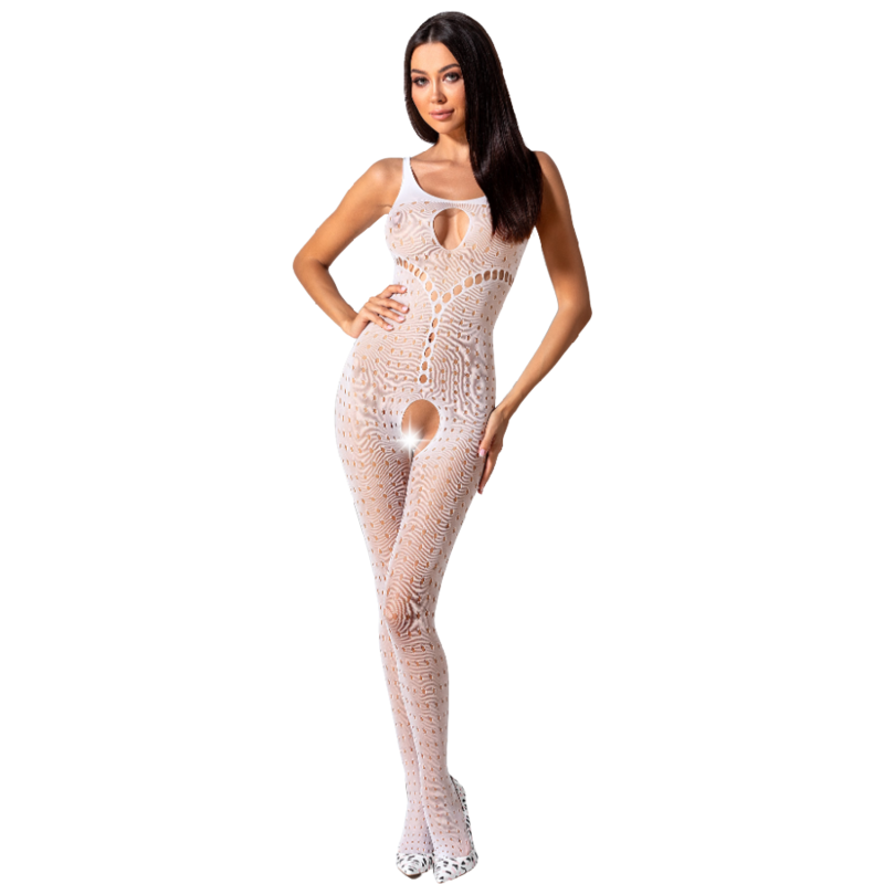 PASSION WOMAN BS078 BODYSTOCKING TALLA UNICA BLANCO